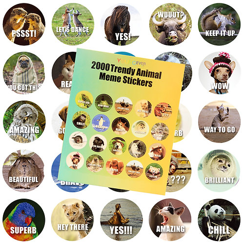 Youngever 2000 Pack Reward Stickers for Teachers, Animal Meme Reward Stickers, F
