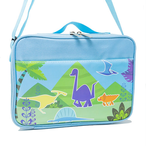 "Blue Dinosaur Lunch Bags Insulated Water-Resistant Lunch Bag 10"" x 7"" x 3.5"""
