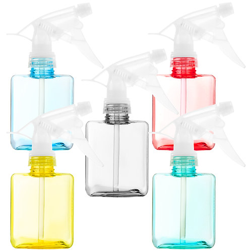 Youngever 5 Pack 12 Ounce Empty Plastic Spray Bottles, Color Square Spray Bottle