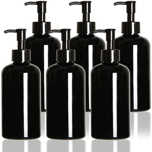Youngever 6 Pack Plastic Pump Bottles 12 Ounce, Refillable Plastic Pump Bottles