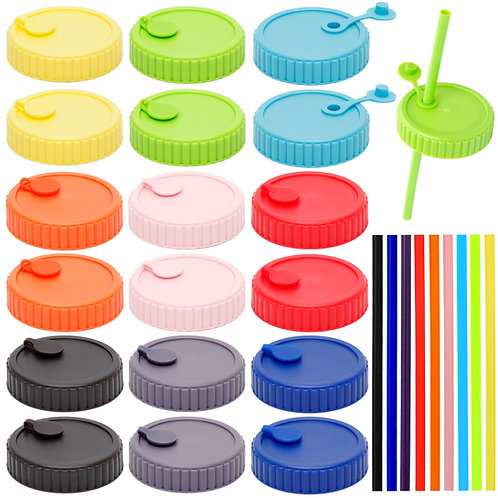 Youngever 18 Pack Plastic Mason Jar Lids with 9 Pack Straws