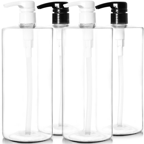Youngever 4 Pack Empty Shampoo Pump Bottles, 32 Ounce (1 Liter) Plastic Cylinder