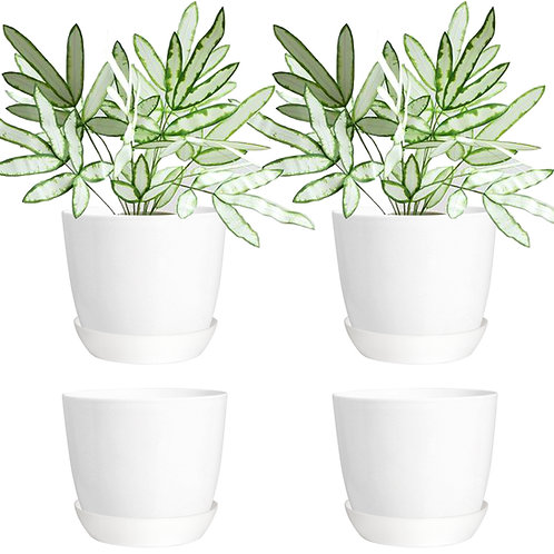 Youngever 4.5 Inch Plastic Planters with Saucers, Indoor Flower Plant Pots