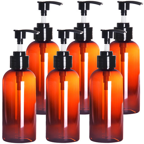 Youngever 6 Pack Amber Plastic Pump Bottles 8 Ounce