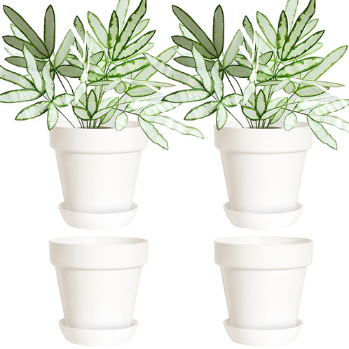 Youngever 7 Pack 4.5 Inch Plastic Planters, Indoor Flower Plant Pots, White
