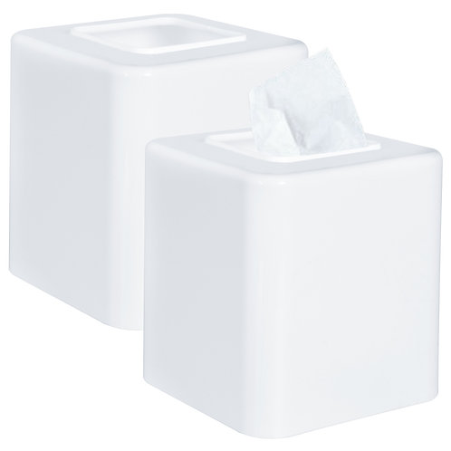 Youngever 2 Pack Tissue Box Covers, Plastic Square Tissue Box Holders,White