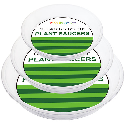 Youngever 21 Pack Clear Plastic Plant Saucers, Thick Heavy Duty Plastic Saucers