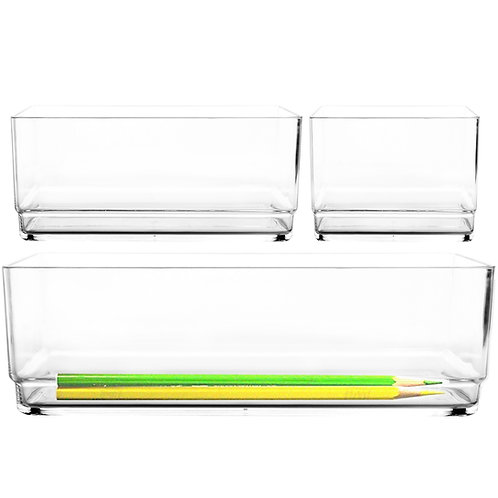 Youngever 3 Pack Premium Quality Clear Plastic Vanity and Desk Drawer Organizers