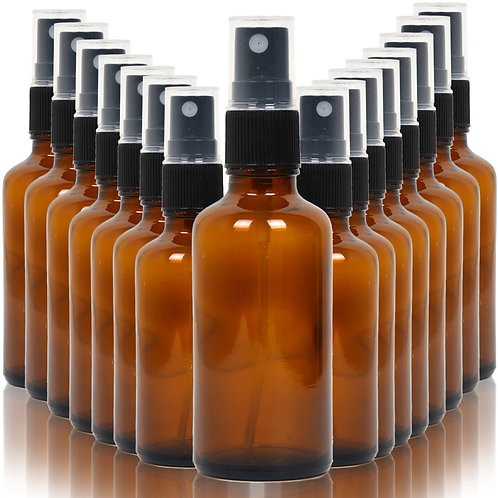 Youngever 16 Pack Empty Amber Glass Spray Bottles, 2 Ounce Empty Refillable