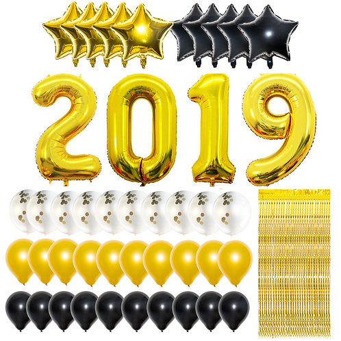 Graduation Party Supplies, Graduation Balloons with 10ft Metallic Gold Foil Frin