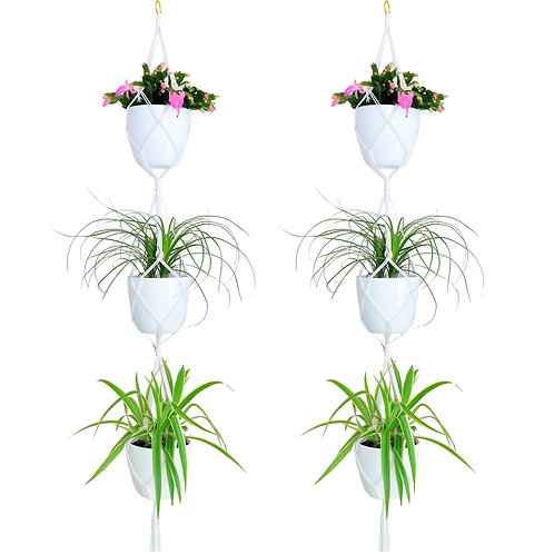 Youngever 3-Tier Plant Hangers, Indoor Outdoor Macrame Hanging Planter Basket