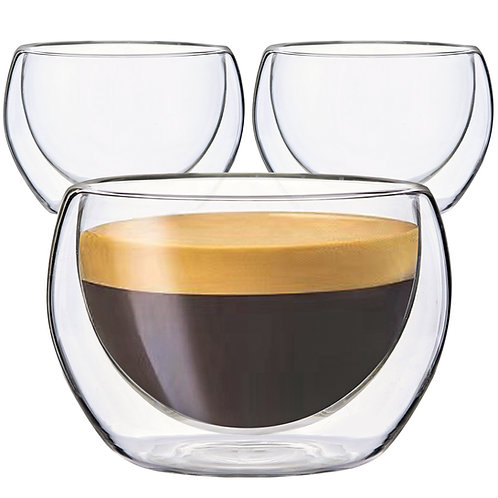 Youngever 3 Pack 5.5 Ounce Espresso Cups, Double Wall Thermo Insulated Cups