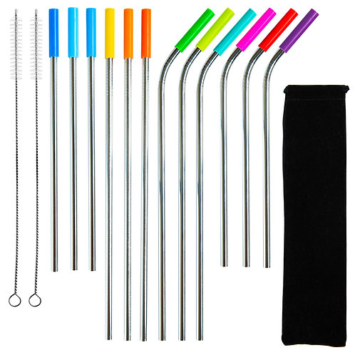 Youngever 12 Pack Stainless Steel Straws with Silicone Tips