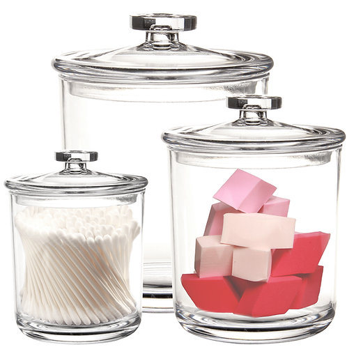 Youngever 60oz 30oz 15oz Clear Plastic Apothecary Jars Sets of 3