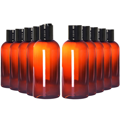 Youngever 10 Pack Plastic Empty Bottles with Disc Cap 8 Ounce, Amber color