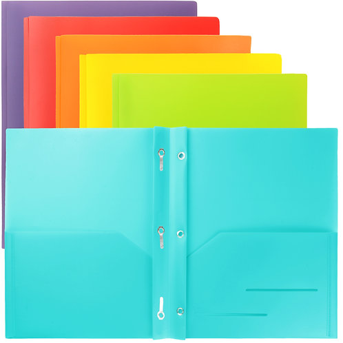 Youngever 6 Pack Heavy Duty Plastic Two Pocket Folders with Prongs
