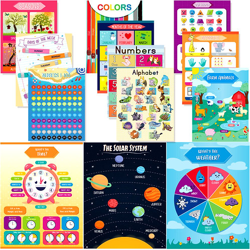 "Youngever 13 Pack Laminated Educational Preschool Posters 16""x11"""