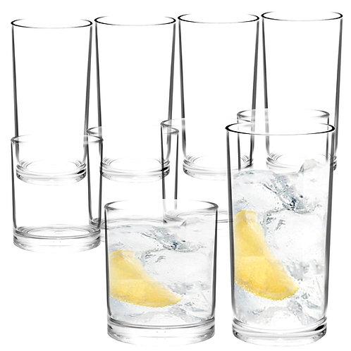 Youngever 8 Pcs Premium Quality Plastic Drinking Tumblers, 2 Size 12oz 16oz