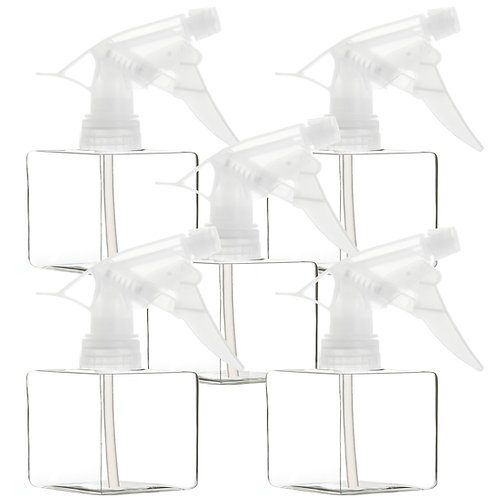 Youngever 5 Pack 8 Ounce Empty Plastic Spray Bottles, Clear Square Spray Bottles