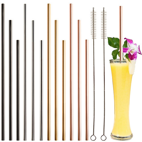 12+2 Pcs Reusable Stainless Steel Straws 4 Colors Gold, Silver, Rose Gold, Black