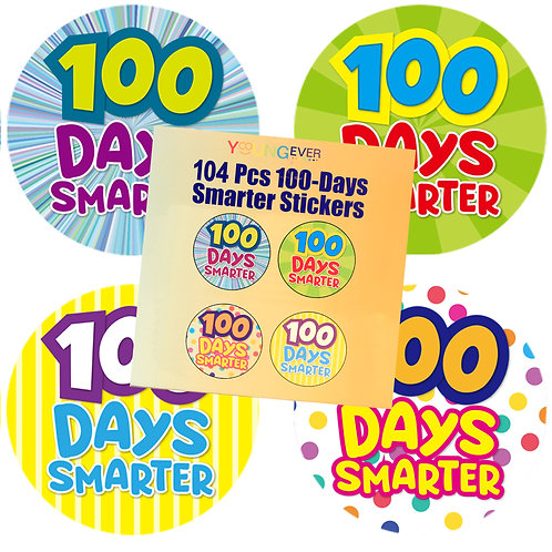Youngever 100 Days Smarter Badge Stickers, 104 Badges