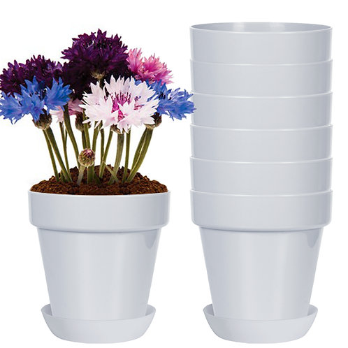 Youngever 8 Pack 5.5 Inch Plastic Planters Indoor Flower Plant Pots(grey)