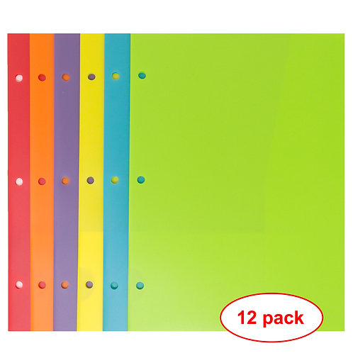 Youngever 12 Pack 3 Binder Holes Plastic Pocket Folders Heavy Duty