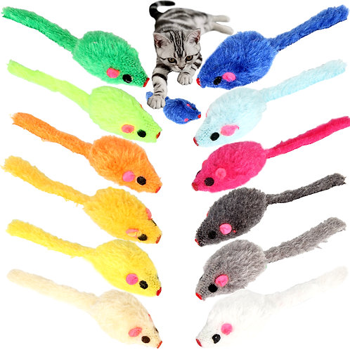 Youngever 24 Pcs Cat Toys Mice Rattle, Play Mice with Rattling Sounds, Cat Mouse