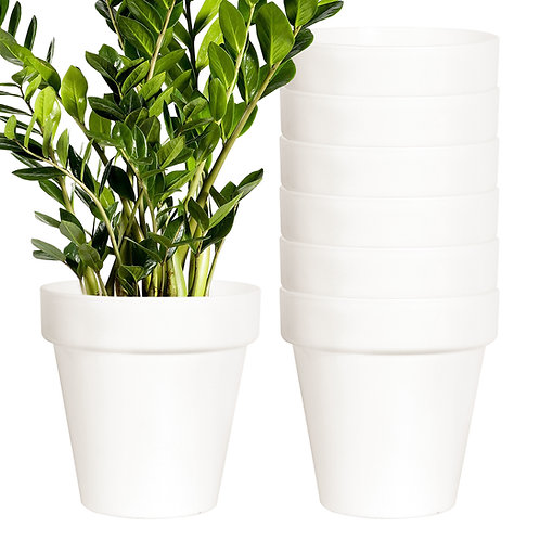 Youngever 8 Pack 5.5 Inch Plastic Planters Indoor Flower Plant Pots