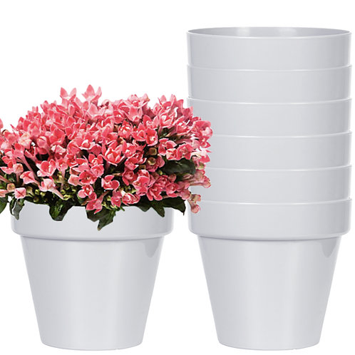 Youngever 7 Pack 6.5 Inch Plastic Planters, Indoor Flower Plant Pots(Grey color)