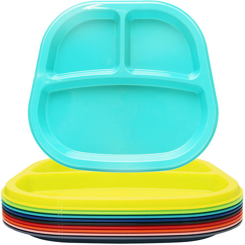 Youngever 3-Compartment Divided Plastic Kids Tray, 3 Compartment Plates, Set of