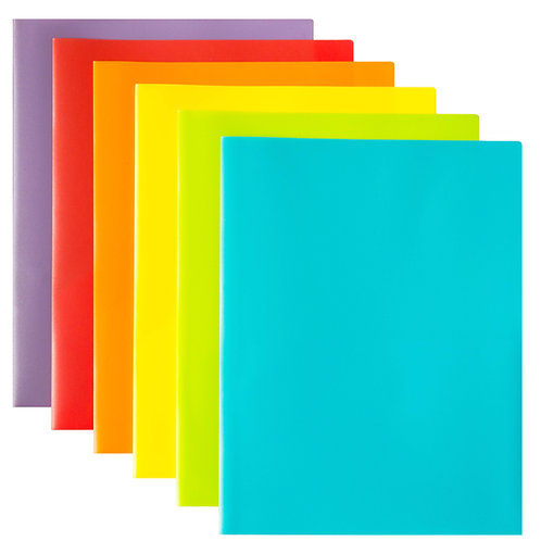 Youngever 6 Pack Plastic Pocket Folders - Heavy Duty Plastic 2 Pocket Folder, in