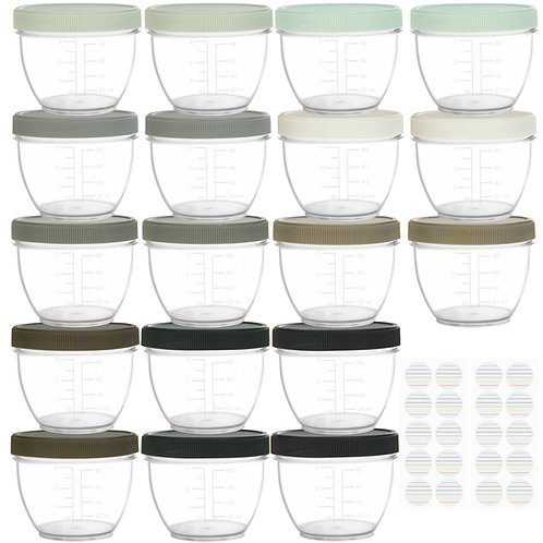 Youngever 18 Sets Baby Food Storage, 4 Ounce Baby Food Containers, urban color