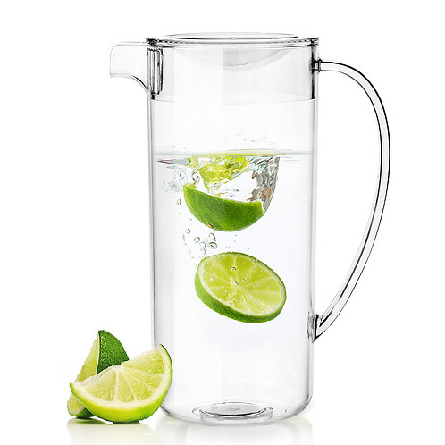 Youngever 2 Quarts Plastic Pitcher With Lid, Clear Plastic Pitcher
