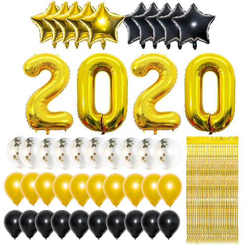 Gold 2020 New Year Party Balloons Decorations with 10ft Gold Foil Fringe