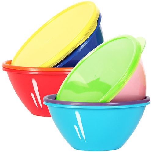 Youngever 32 Ounce Plastic Bowls with Lids, Large Cereal Bowls, Large Soup Bowls