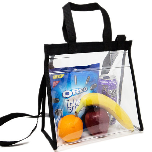 Deluxe Clear Lunch Bag, Stadium Approved Clear Bag, Adjustable Cross-Body Strap