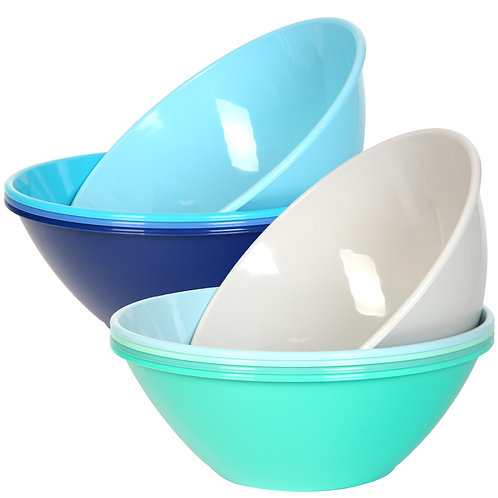 Youngever 10 inch 100 Ounce Plastic Mixing and Serving Bowls,Coastal Color