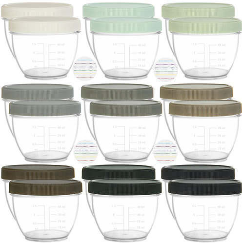 Youngever 18 Pack 2 oz Baby Food Storage, Containers with Lids, 9 urban colors
