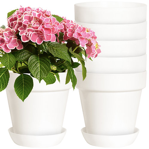 Youngever 7 Pack 6.5 Inch Plastic Planters with Saucers