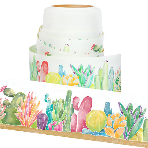 Youngever Straight Border Trim, Bulletin Board Borders, Cactus Design