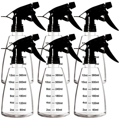 Youngever 6 Pack 12 oz Clear Empty Plastic Spray Bottles, Spray Bottles for Hair