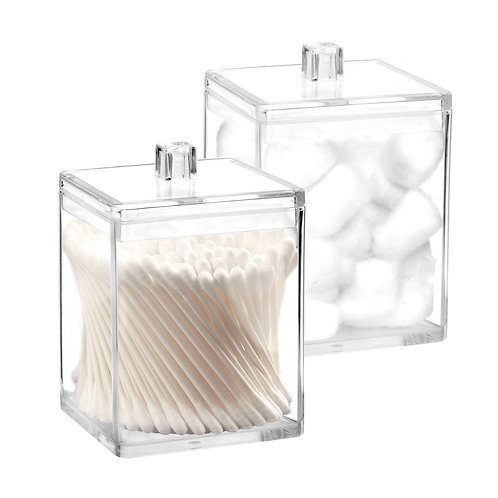 Youngever 2 Pack 15 Ounce Clear Plastic Apothecary Jars, Square Shape