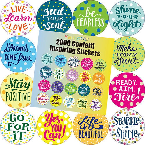 Youngever 2000 Motivational Confetti Inspiring Stickers, Words to Inspire