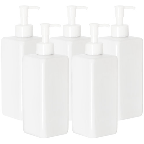 Youngever 5 Pack 16 Ounce Plastic Pump Bottles, White Square Pump Bottles