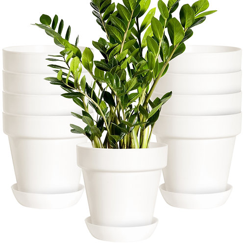 Youngever 8 Pack 5.5 Inch Plastic Planters with Saucers Indoor Flower Plant Pots