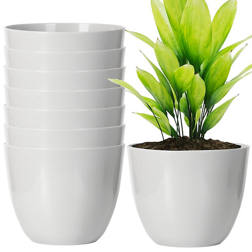 Youngever 8 Pack 5.5 Inch Plastic Planters Indoor Flower Plant Pots, Modern Grey