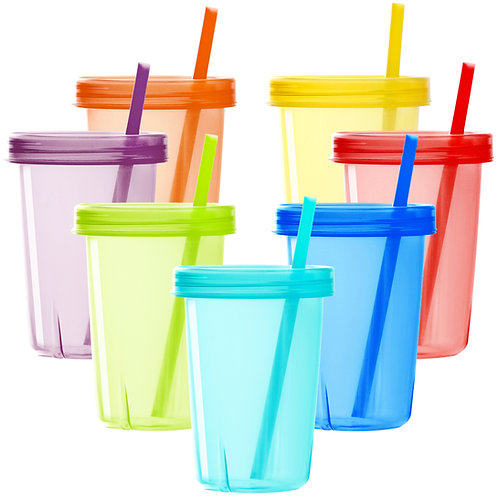 Youngever 7 Sets Plastic Kids Cups with Lids and Straws, 7 Reusable Toddler Cups