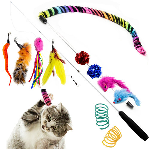 Cat Teaser Feather Toy, Retractable Cat Toys Wand with Assorted Teaser Refills