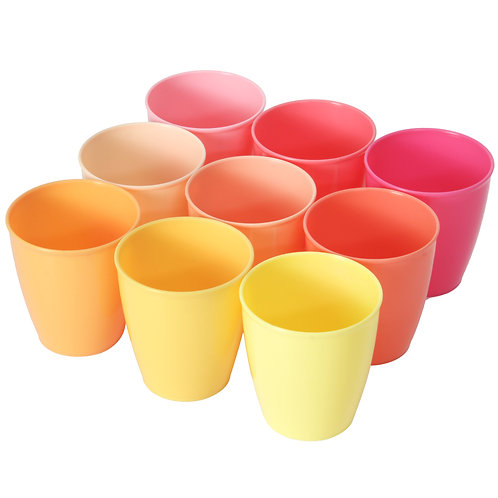 Youngever 8 Ounce Kids Cups, 9 Pack Kids Plastic Cups in 9 Peach Colors, 8 Ounce